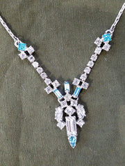 Vintage Blue and Clear Rhinestone Necklace