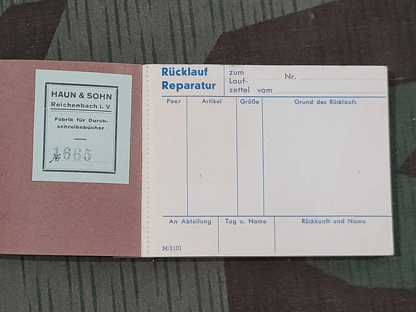 Vintage German Repair and Return Booklet