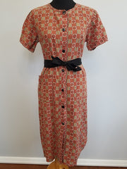 Vintage Red House Dress with Tie Belt