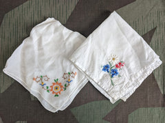 Vintage Set of 2 Hankies (Edelweiss Flower)