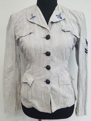 Vintage WWII WAVES Women's Navy Seersucker Uniform Jacket 1940s