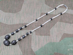 Vintage 1920s / 1930s German Black and Clear Glass Bead Necklace