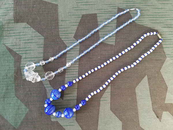 Vintage 1920s / 1930s German Blue Glass Bead Necklace