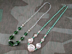 Vintage 1920s / 1930s German Green Glass Bead Necklace