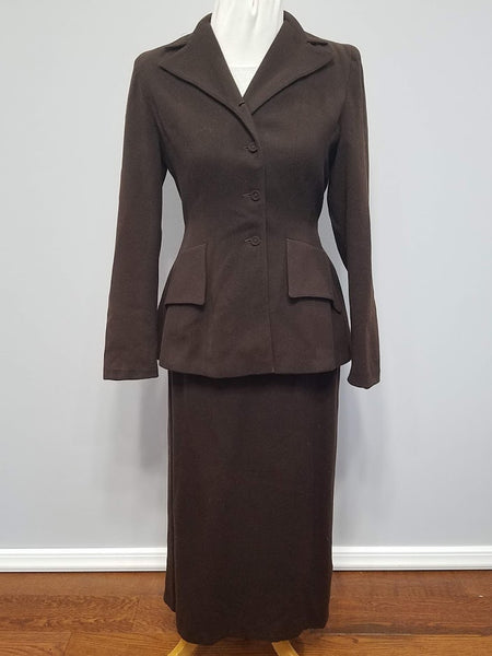 Vintage 1930s / 1940s Brown Wool Skirt Suit