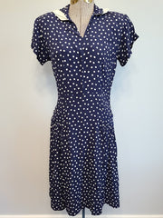 Vintage 1930s / 1940s Dark Blue Polka Dot Dress