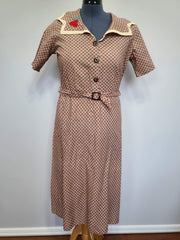 Vintage 1930s / 1940s Feedsack Dress Plus Size