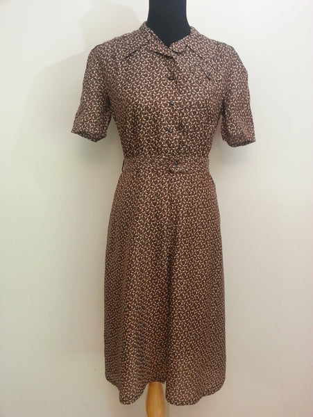 Vintage 1930s 1940s German Artificial Silk Button-Down Dress (Same Material as WWII Parachutes)