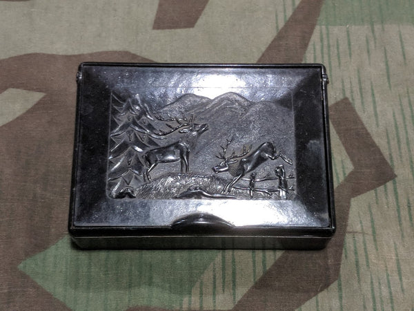 Vintage 1930s 1940s German Bakelite Loose Tobacco Box with Deer Theme