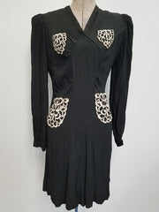 Vintage 1930s / 1940s German Black Dress with White Appliqué