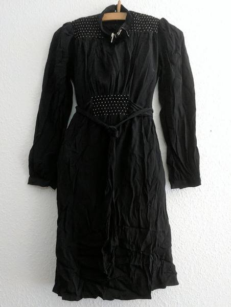 Vintage 1930s / 1940s German Black Rayon Dress with White Stitching