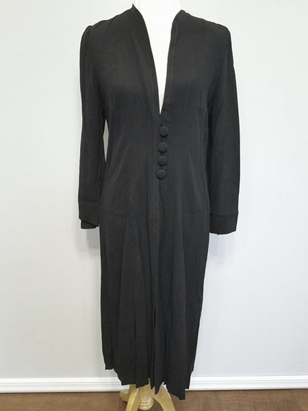 Vintage 1930s / 1940s German Black Rayon Jacket / Dress
