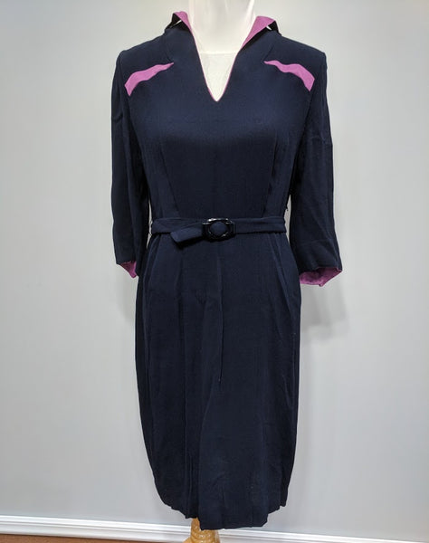 Vintage 1930s / 1940s German Blue Dress with Pink Trim and Belt