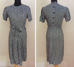 "German Blue Dress - Buttons in the Back <br> (B-40"" W-33"" H-40"")"