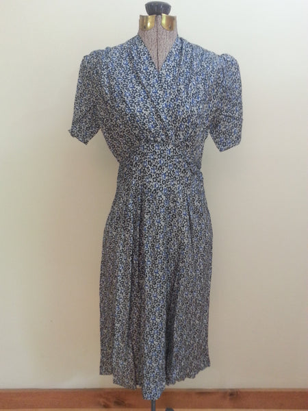 Vintage 1930s/1940s German Blue Print Dress Pre-WWII