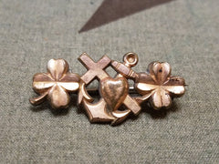 Vintage 1930s / 1940s German Cross Heart Anchor Brooch Pin