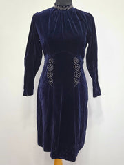 German Dark Blue Velvet Dress