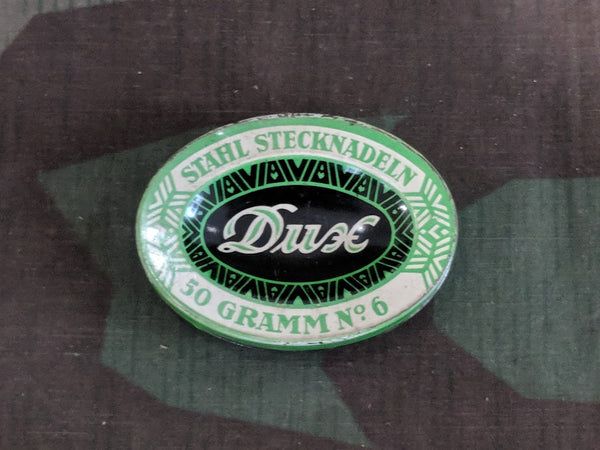Vintage 1930s / 1940s German Dux Stahl Stecknadeln Sewing Pin Tin