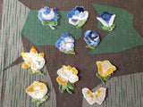 Vintage 1930s / 1940s German Embroidered Flowers (Set of 5)