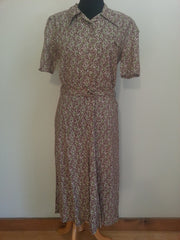 Vintage 1930s / 1940s German Green/Brown Print Dress New Old Stock
