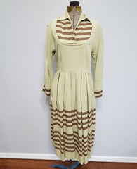 Vintage 1930s / 1940s German Green Brown Stripe Dress DRP Zipper