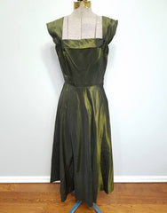 Vintage 1930s / 1940s German Green Iridescent Gown Dress DRP