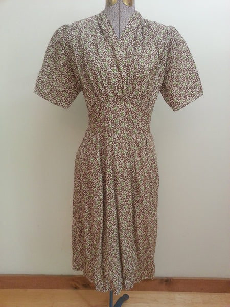 Vintage 1930s/1940s German Green Print Dress Pre-WWII