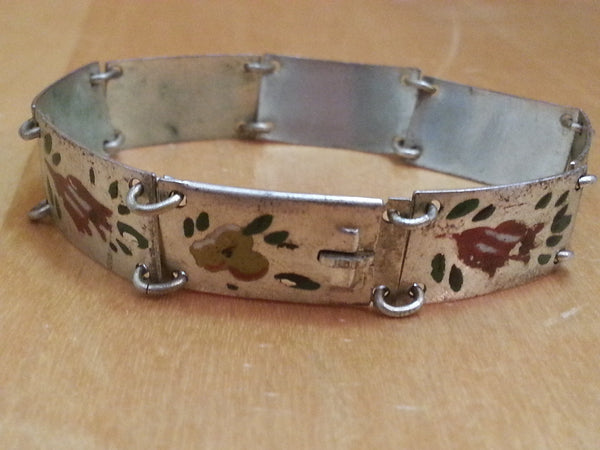 Vintage 1930s / 1940s German Hand Painted Flower Bracelet