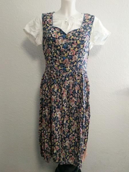 Vintage 1930s / 1940s German Sleeveless Flower Dress & White Undershirt