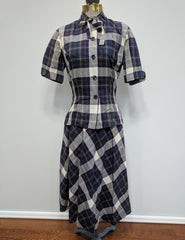 Vintage 1930s / 1940s Plaid Outfit: Blouse and Skirt McMullen