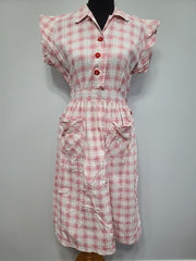 Vintage 1930s / 1940s Red and White Button Dress
