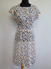Vintage 1930s 1940s See-thru Flower Print Dress with Belt