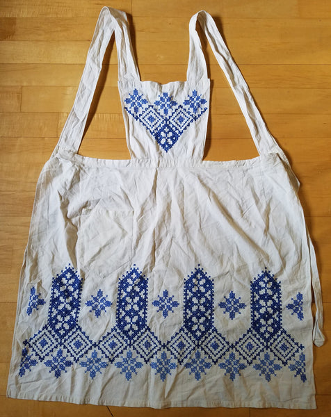 Vintage 1930s/1940s WWII-era German Apron with Blue Needlework Designs