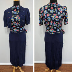 Vintage 1930s Blue Flower Print Dress w/ Matching Bolero Jacket