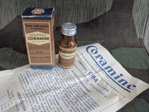 Vintage 1930s French Coramine Medicine Bottle w Box Overdose Treatment