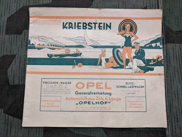 Vintage 1930s German Opel Car Dealership Booklet Kriebstein