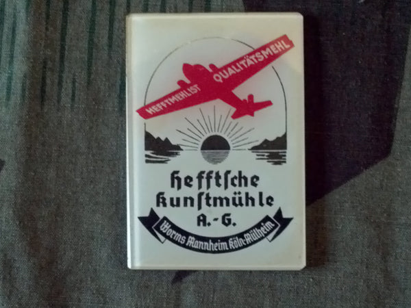 Vintage 1930s German Pocket Advertising Mirror w/ Plane JU-88 Pre-WWII
