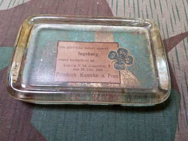 Vintage 1930s Good Luck Glass Paper Weight