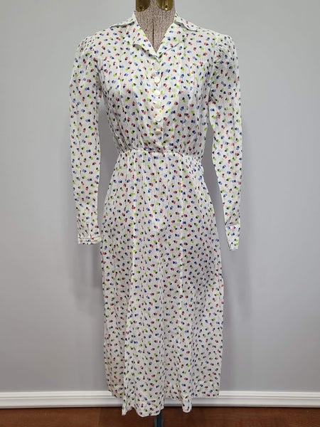Vintage 1930s See-Thru Long Sleeve Heart Print Dress
