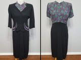 Vintage 1940s Green and Purple Butterfly Dot Print Dress and Jacket