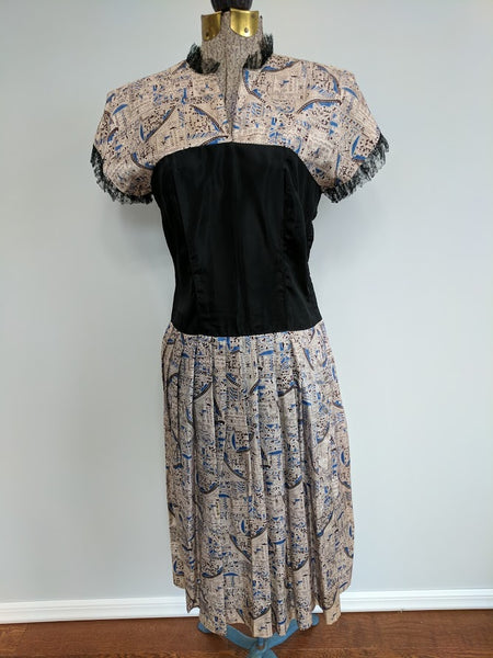 Vintage 1940s / 1950s Aztec Novelty Print Dress