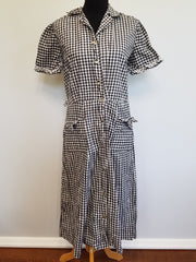 Vintage 1940s 1950s Black & White Checkered Dress
