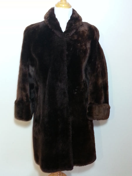 Vintage 1940s / 1950s Brown Faux Fur Coat