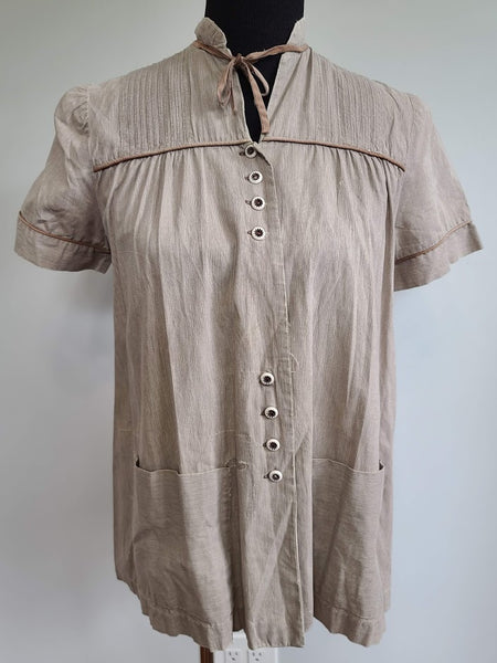 Vintage 1940s / 1950s Brown Maternity Blouse Shirt