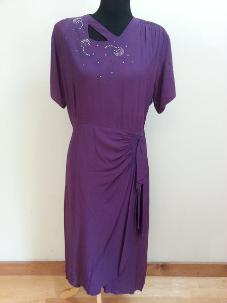Vintage 1940s / 1950s Purple Dress w/ Rhinestone Accents