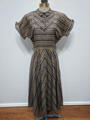 Vintage 1940s / 1950s Striped Dress with Rhinestone Buttons