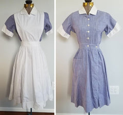 Vintage 1940s / 1950s WWII-era Nurse Uniform - Dress with Apron (Small)