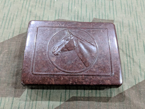 Vintage 1940s Bakelite Cigarette Case with Horse Design