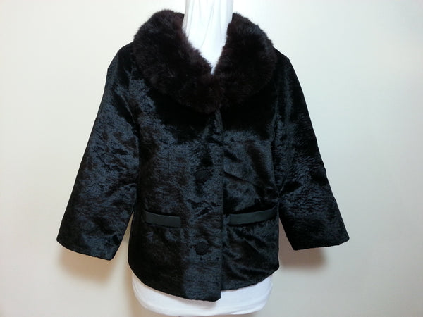 Vintage 1940s Black Coat Jacket with Mink Fur Collar