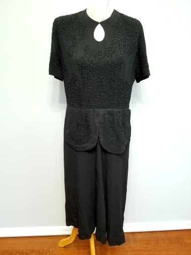 Vintage 1940s Black Rayon Beaded Dress AS-IS